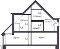 вид дома в разрези