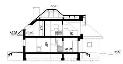 Разрез плана проекта Дом в рукколе
