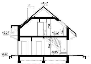 Дом в бруснике 2 чертеж в разрезе