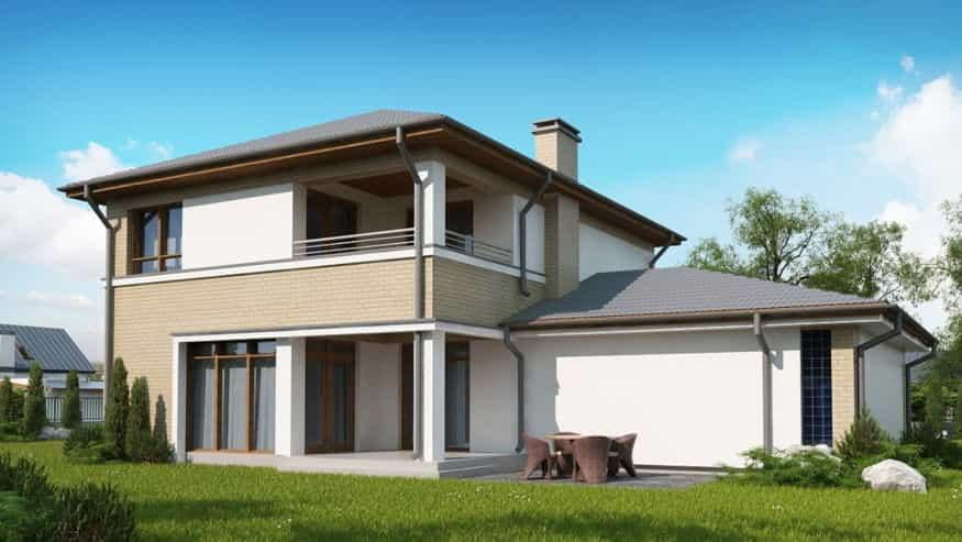 Проект дома Zx24 GL2 вид со двора