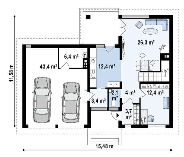 Проект дома Zx24 GL2 план первого этажа