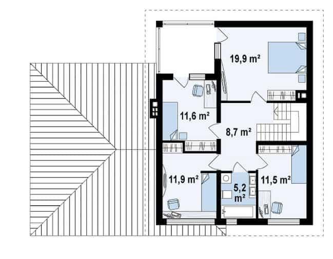 Проект дома Zx24 GL2 план второго этажа