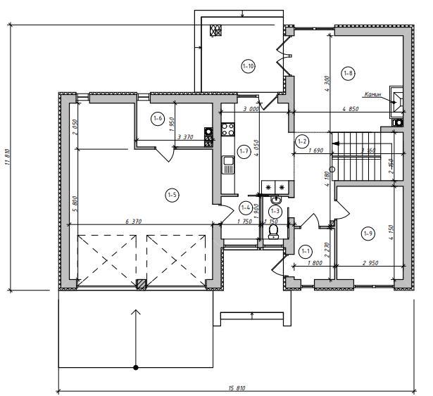 Проект дома Zx24 GL2 план в разрезе с размерами