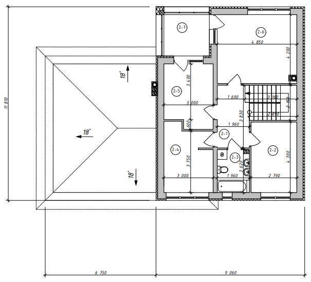 Проект дома Zx24 GL2 план в разрезе с размерами второй этаж