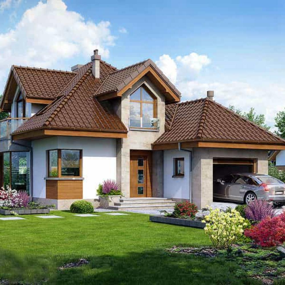 ᐉПроект двухэтажного дома с гаражом 151м2 за 47000$